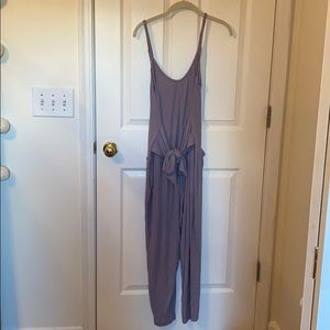 Purple lounge jumpsuit from anthropologie
